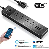 Smart Power Strip Alexa, SENDOW Wifi Surge Protector 4 AC Outlets 3 USB Ports Smart Outlets with Overload Switch/Timer/Wireless Voice Remote Control by Amazon Echo/Google Home