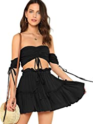 Floerns Women's Two Piece Outfit Off Shoulder Drawstring Crop Top and Skirt Set