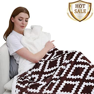 YUUHUM Ultra Soft Sherpa Fleece Throw Blanket Couch Sofa Plush Fuzzy Blanket (Throw 50 x60 , Brown)
