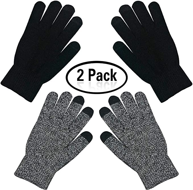 Men Fashion Warm Patchwork Thick 3 Fingers Touch Screen Knit Stretch Gloves