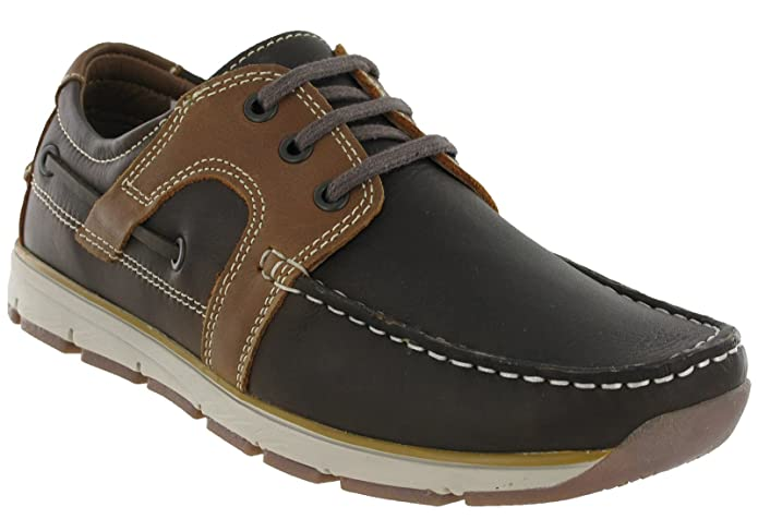 Mens Roamers Leather 3 Eye Apron Moccasin Leisure Lace Up Shoes:  Amazon.co.uk: Shoes & Bags