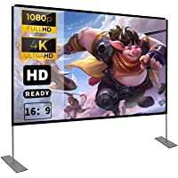 Projector Screen with Stand 100 inch 16:9 HD 4K Outdoor Indoor Projection Screen for Home Theater 3D Fast-Folding…