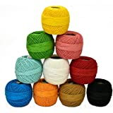 Embroiderymaterial Crochet Cotton Thread Yarn for Knitting and Craft Making Combo Pack of 10 Roll (Multicolour, EMB-CC-C10)