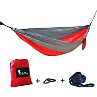 iYaYoo Parachute Single Camping Hammock w/ 2 x Hanging Straps and Carabiners