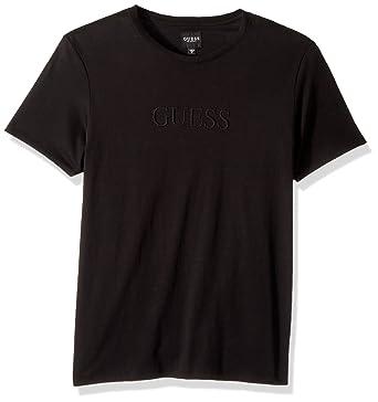 00551a897a49e8 GUESS Men's Short Sleeve Pima Embellished Logo Crew   Amazon.com