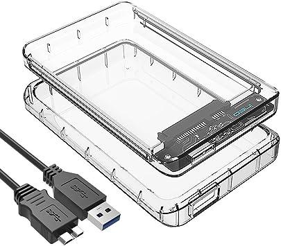 Caja Transparente con USB 3.1 para Disco Duro Externo de 2.5 ...