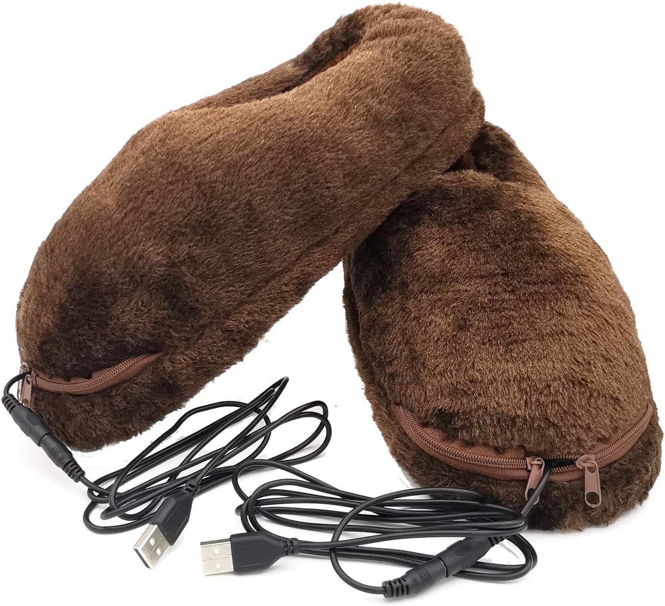 USB Heated Slipper Heated Foot Warmers Heating Pad Insole (Coffee)