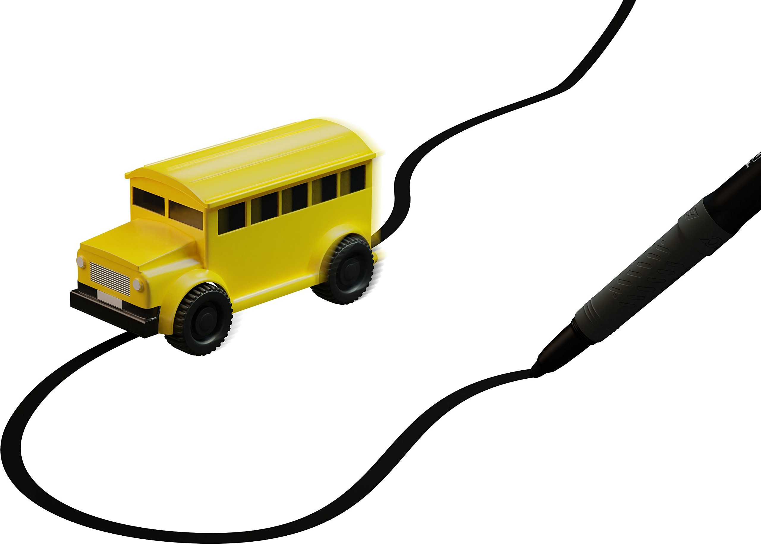 Nylea Magic Vehicles Inductive Truck [Follows Black Line] Magic Toy Car for Kids & Children - Best Toddler Toys MINI Magic Pen Inductive Fangle Kids Car Follow (Yellow School Bus)
