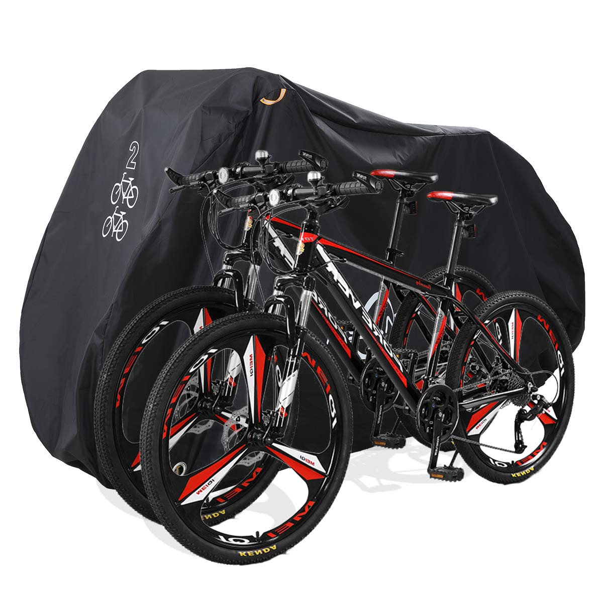 Aiskaer Black Bicycle Cover with Lock Hole Reflective Safety Loops for 29er Mountain Road Electric Bike Motorcycle Cruiser Outdoor Storage, Waterproof, Anti-UV, Heavy Duty Ripstop Material 210D by Aiskaer