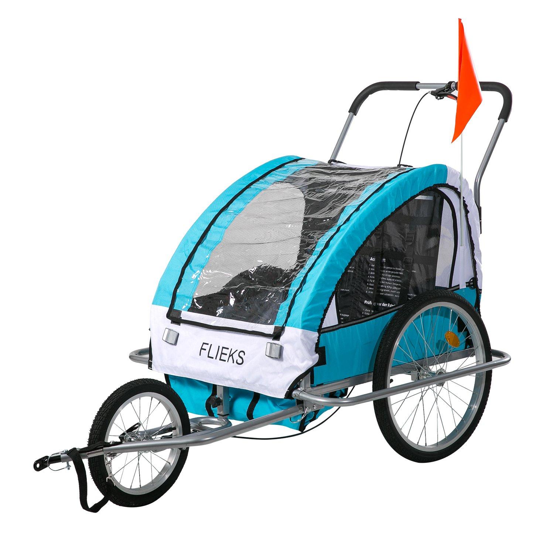 Flieks Kinderanhänger Fahrradanhänger mit Federung + Joggerfunktion + Sicherheitsgurt, 2in1 Anhänger für 1 bis 2 Kinder BFT