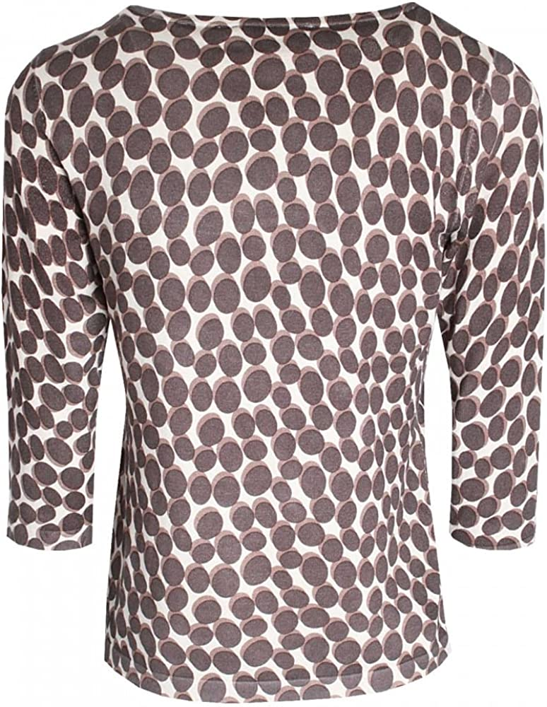Betty Barclay Long Sleeve Round Neck Spotted Top Grey Multi