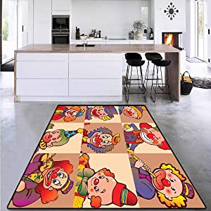 "Circus Decor, Girls Rooms Kids Rooms Nursery Decor Mats, Funny Clowns Illustration Entertaining Childhood Artistic Joke Enjoyment, Area Rug Entryway 4'7"" x 5'4"""