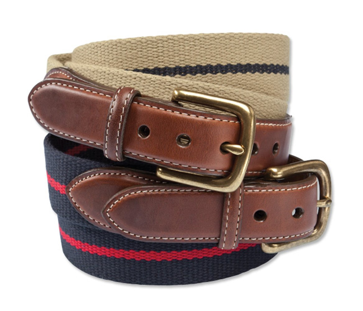 Orvis Cotton And Leather Surcingle Belt, Navy, 38