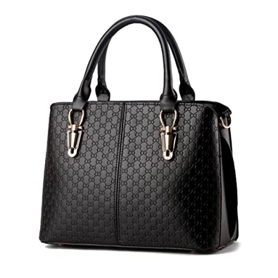 Pahajim women top handle bag PU leather big purses satchel shoulder  handbags (black) 1f1e59a4597d