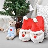 ChicPro Cozy Christmas Santa Plush Slipper Memory
