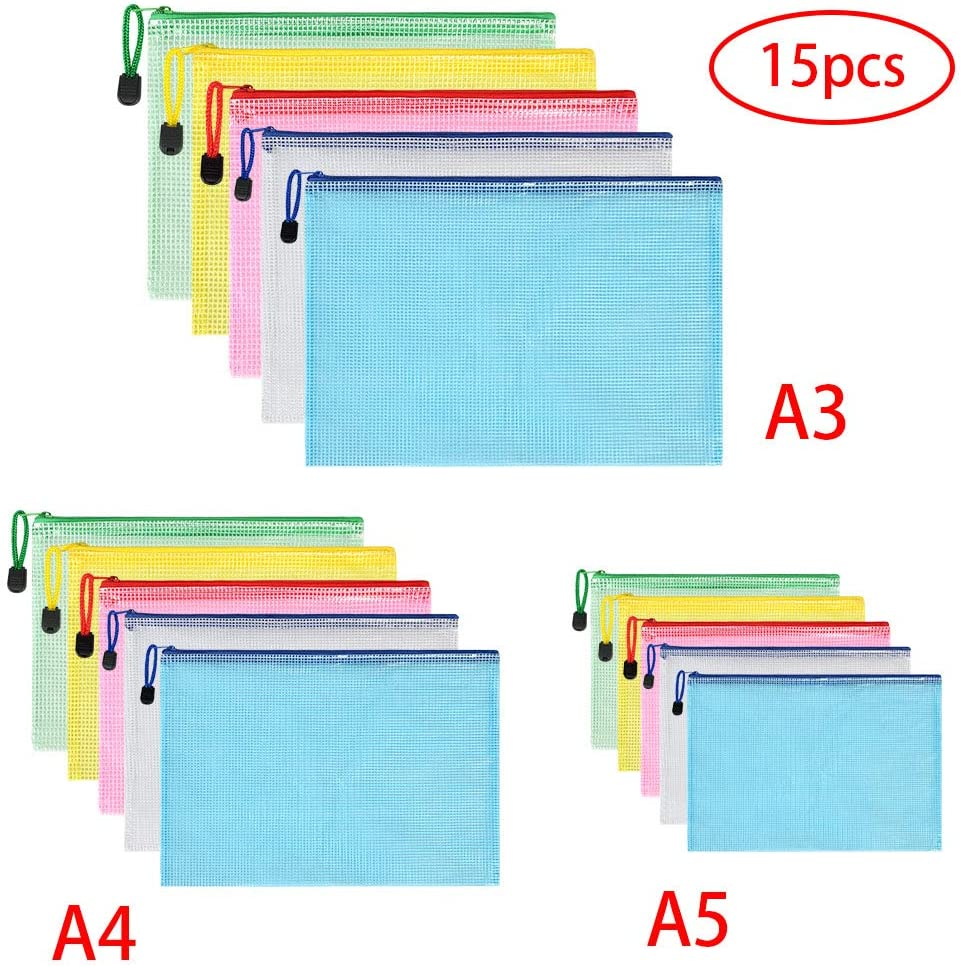 Vicloon Bolsas de Documentos A3+A4+A5, 15 Piezas Carpetas para Archivo Documentos de plástico con Malla, Bolsa de Archivo de Cremallera para Certificados Recibos Papelería Oficina Viaje Tarea Escolar