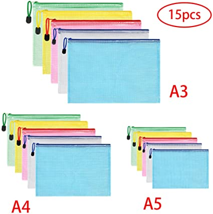 Maglia borsa portadocumenti formato A3/Duralble zipper file in plastica confezione da 10