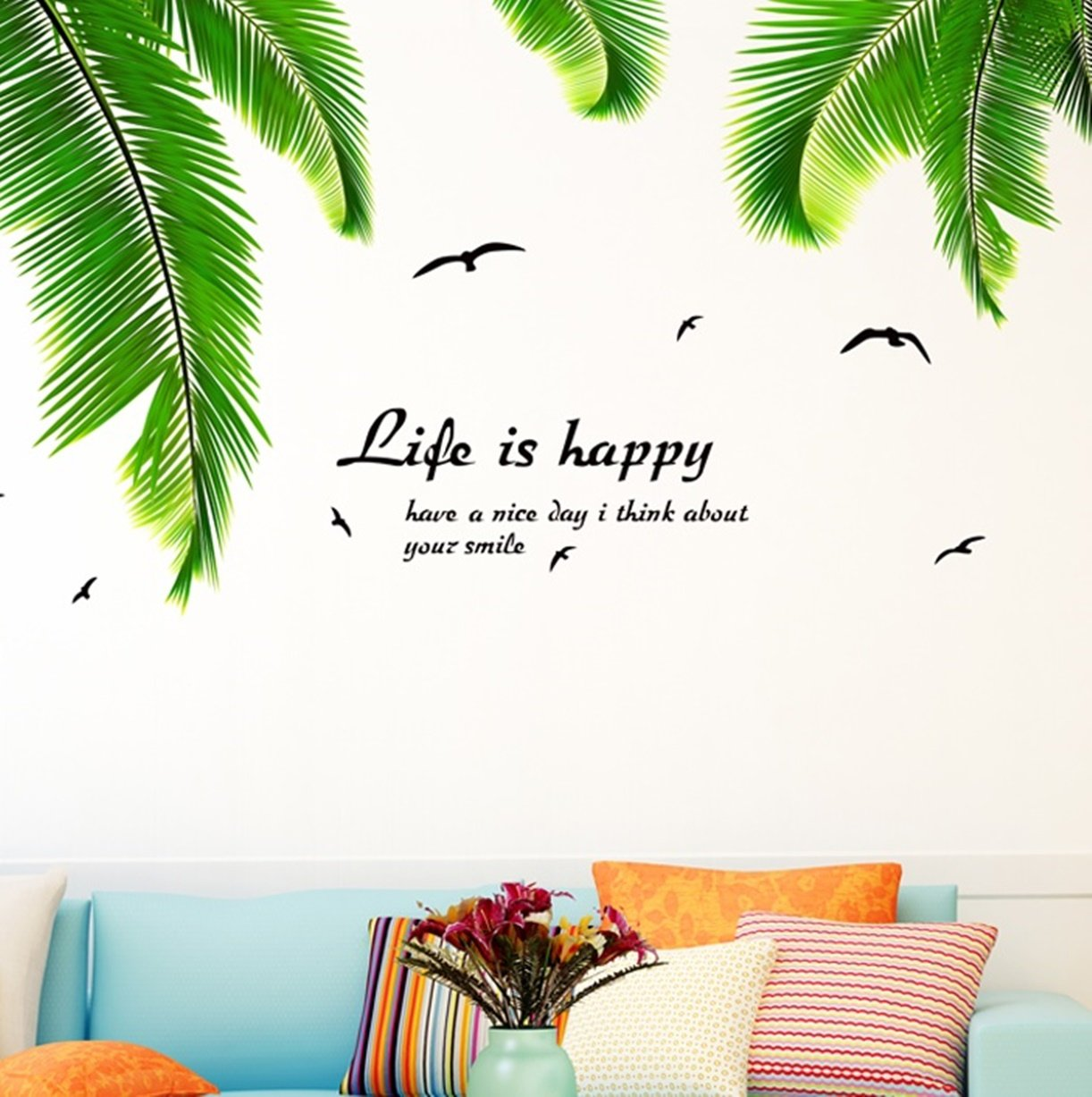 1 set palm leaves diy tree birds vinyl wall stickers living room bedroom teen nursery splendid popular dream butterfly world moon star ocean sun flower