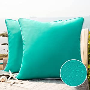 Phantoscope Pack of 2 Outdoor Waterproof Throw Pillow Covers Decorative Square Outdoor Pillows Cushion Case Patio Pillows for Couch Tent Sunbrella (18''x18'', Turquoise)