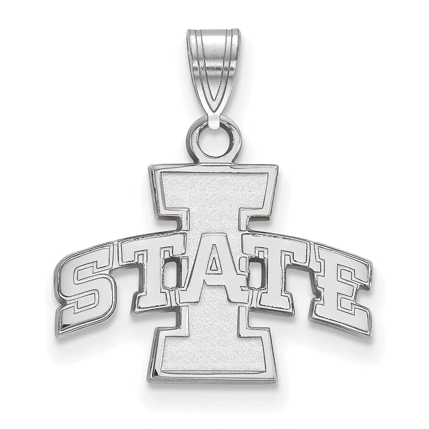925 Sterling Silver Rhodium-plated Laser-cut Iowa State University Small Pendant