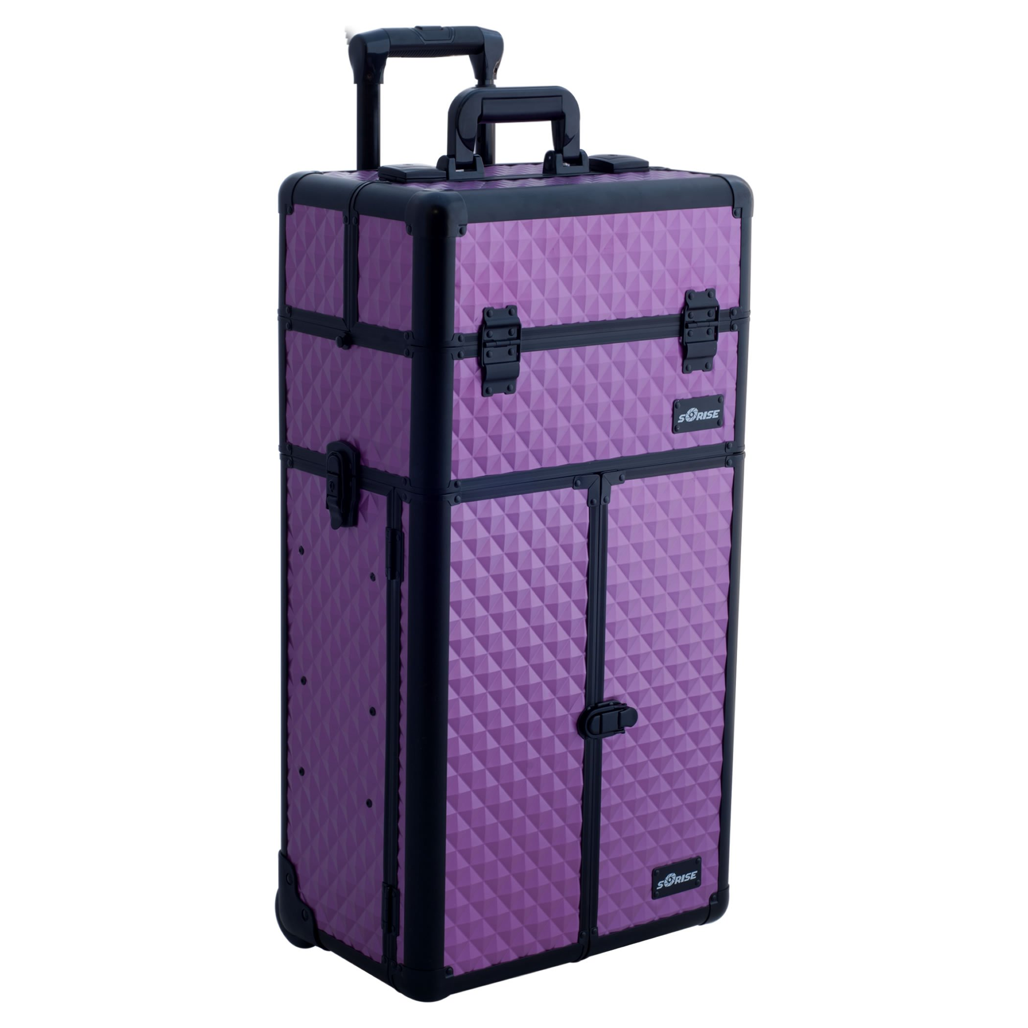 SUNRISE Rolling Makeup Case 2 in 1 Cosmetic Artist I3266 Aluminum, French Doors, 3 Sliding Tray and 2 Drawers, Locking with Mirror, Purple Diamond by SunRise