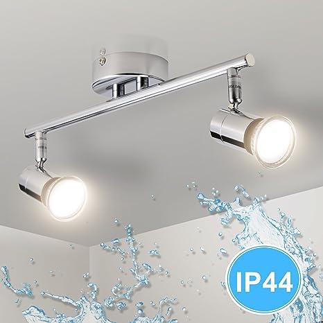 Gr4tec Lámpara de techo Luz de Baño LED con Focos Giratorios IP44 Impermeable Incluye 2X Bombillas GU10 4W 230V 2800K Blanco cálido 400lm 82Ra Metal ...