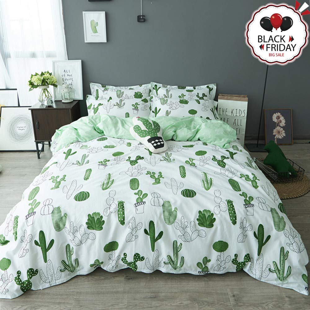 VCLIFE Cotton Duvet Cover Sets Queen Green White Bedding Sets Reversible Cactus Plant Pattern Bedding Collections 1 Queen Duvet Cover 2 Pillowcases Breathable Lightweight Durable Hypoallergenic Queen