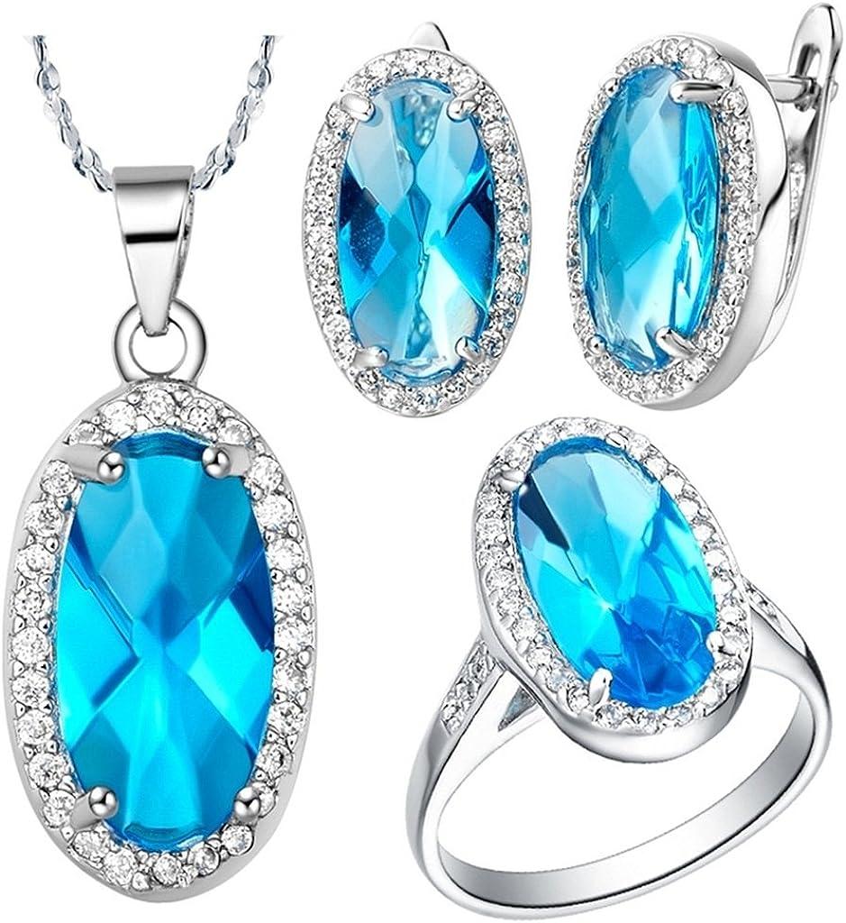 KnSam Collar Plata Mujer, Conjunto de Collar Pendientes y Pulsera, Espejo Oval Azul Cristal Juego de Joyas