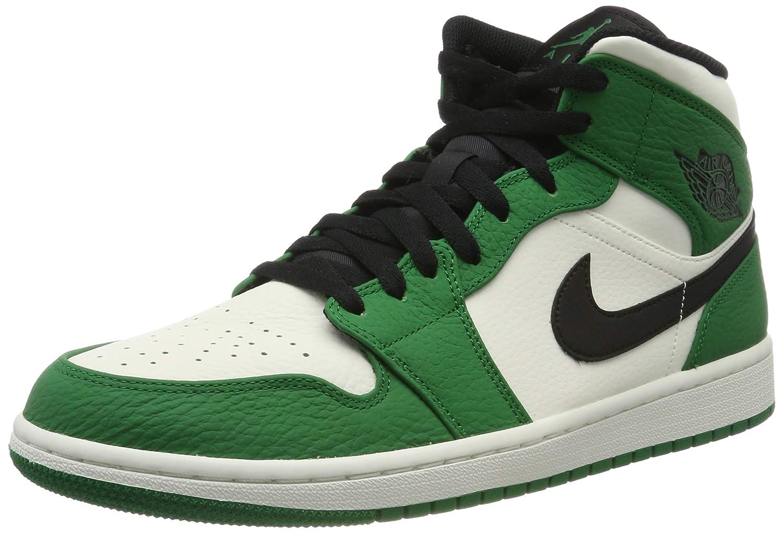 Air Jordan 1 Mid SE Men's Basketball Shoe (10.5 M US, Pine Green/Sail/Black)