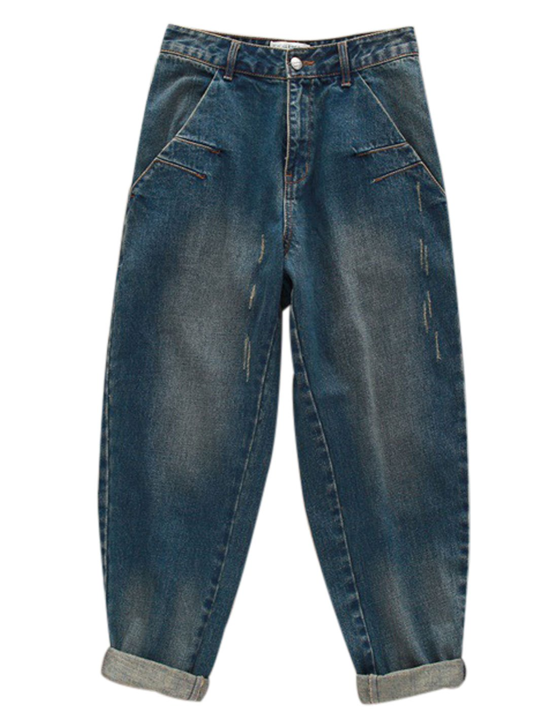 Yeokou Women's Casual Loose Distressed Baggy Harem Denim Jeans Cropped Pants (Large, Dark Blue) by Yeokou (Image #5)