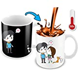 Heat Sensitive Mug | Color Changing Coffee Mug | Funny Coffee Cup | Lovely Cartoon Couples Design | Birthday Gift Idea for Him or Her, Mother' Gift for Mom and Father's Day Gift for Dad