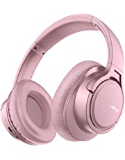 Mpow H7 Bluetooth Headphones Over-Ear, 18h Playtime, CVC 6.0, Wireless Headphones with Hi-Fi Stereo and Mic, Comfortable Memory-Protein, Wireless and Wired Mode for Cellphone/Tablet-Rose