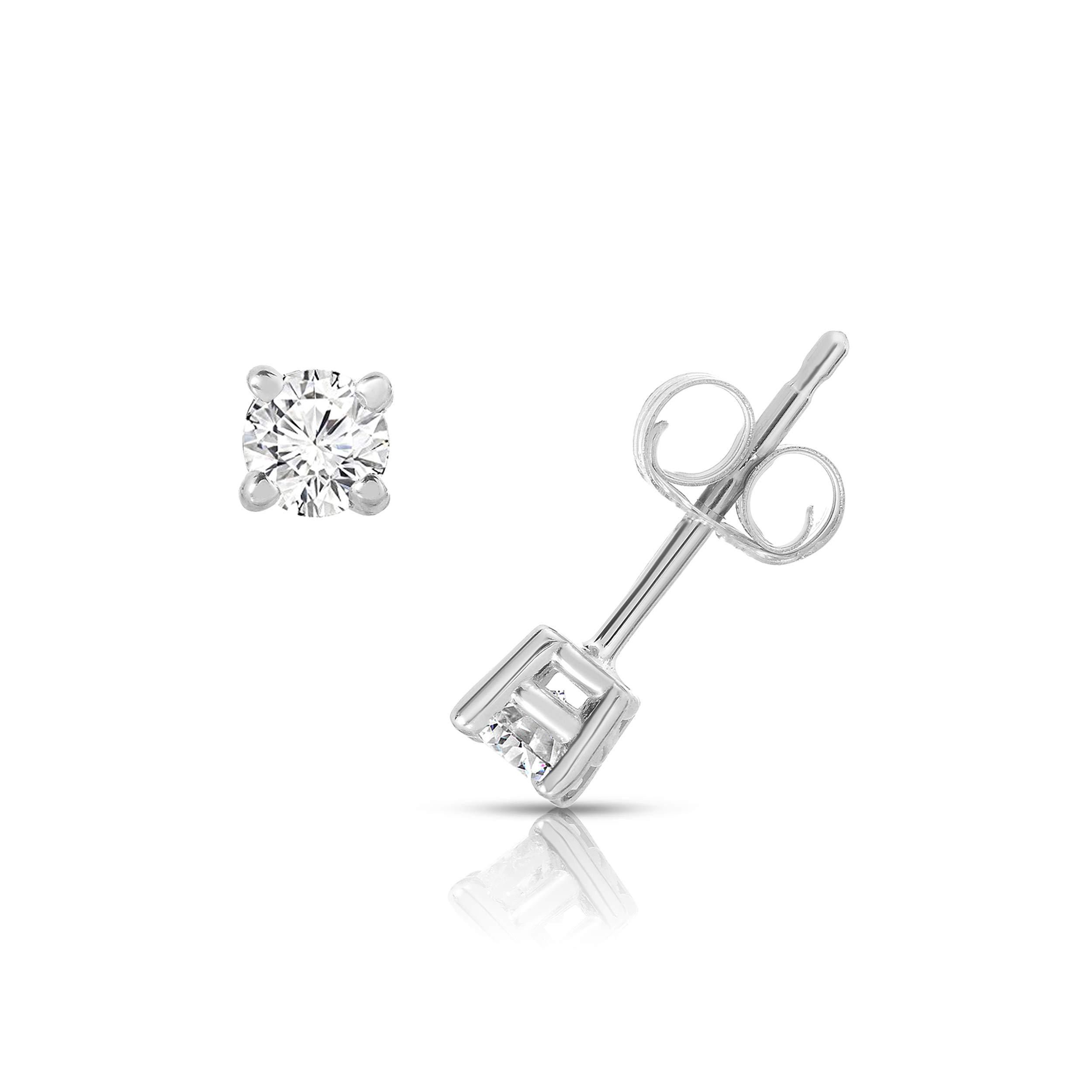 NATALIA DRAKE 10K White Gold Diamond Round Solitaire 4 Prong Stud Earrings (0.25CTW)