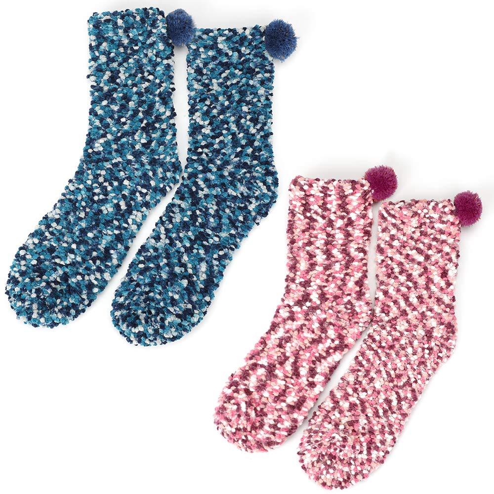 Homealexa 2 Paar Damen M/ädchen Socken Kuschelsocken Weiche Warme Haussocken Flauschige Wintersocken mit Geschenkbox f/ür Frauen Weihnachtsgeschenk