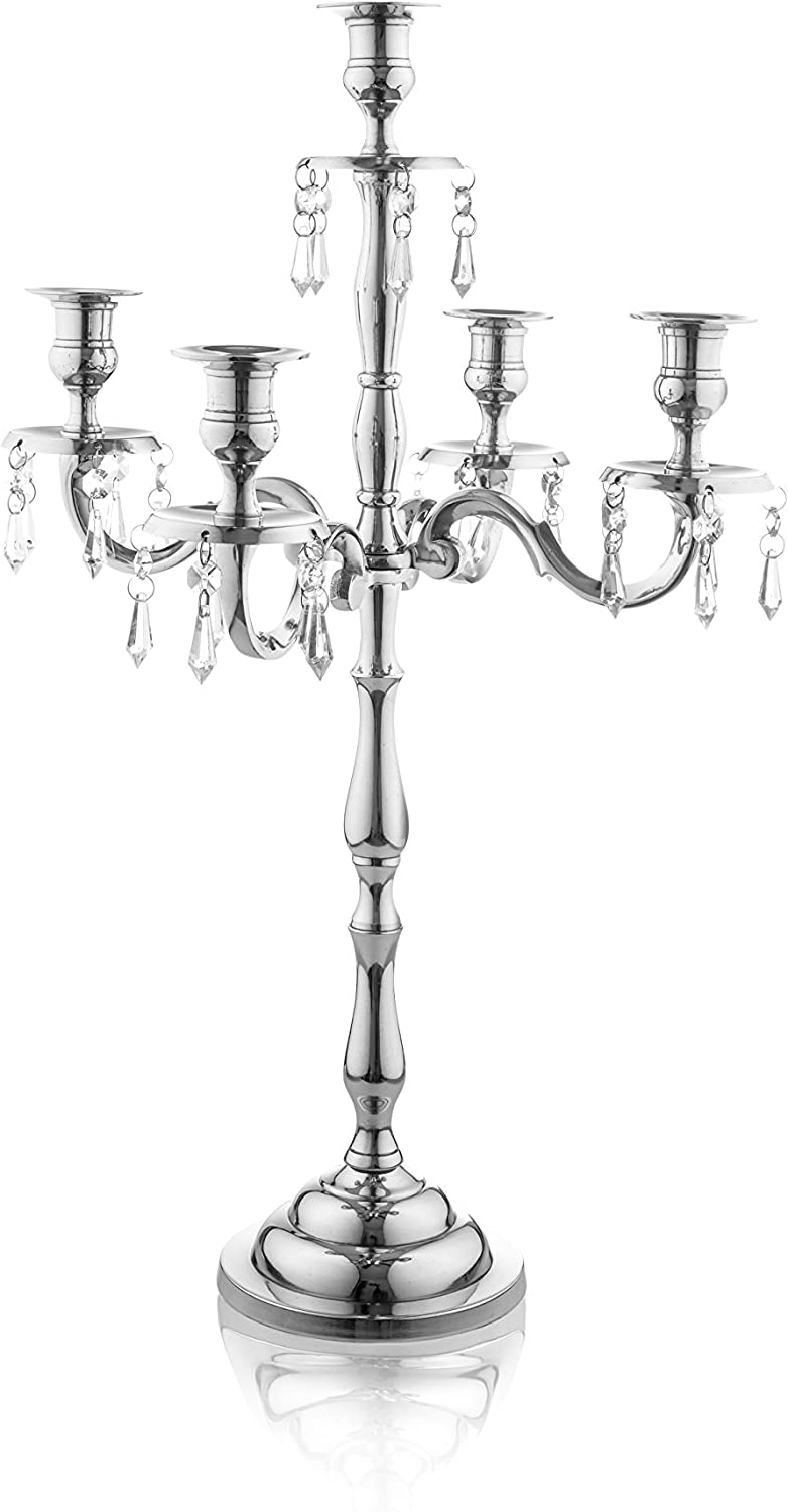 Klikel Heritage 16 Inch Silver 5 Candle Candelabra with Crystal Drops - Classic Elegant Design - Wedding, Dinner Party and Formal Event Centerpiece - Nickel Plated Aluminum, Dangling Acrylic Crystals
