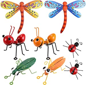 8 Pieces Metal Ant Dragonfly Ladybug Grasshopper Wall Decor Set Outdoor Garden Yard Fence Art Hanging Decoration Funny Ornaments Colorful 3D Wall Decor for Indoor Outdoor Garden Decoration