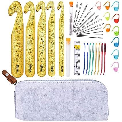 Amazon.com: Juego de ganchos de ganchillo grandes, 5 agujas ...