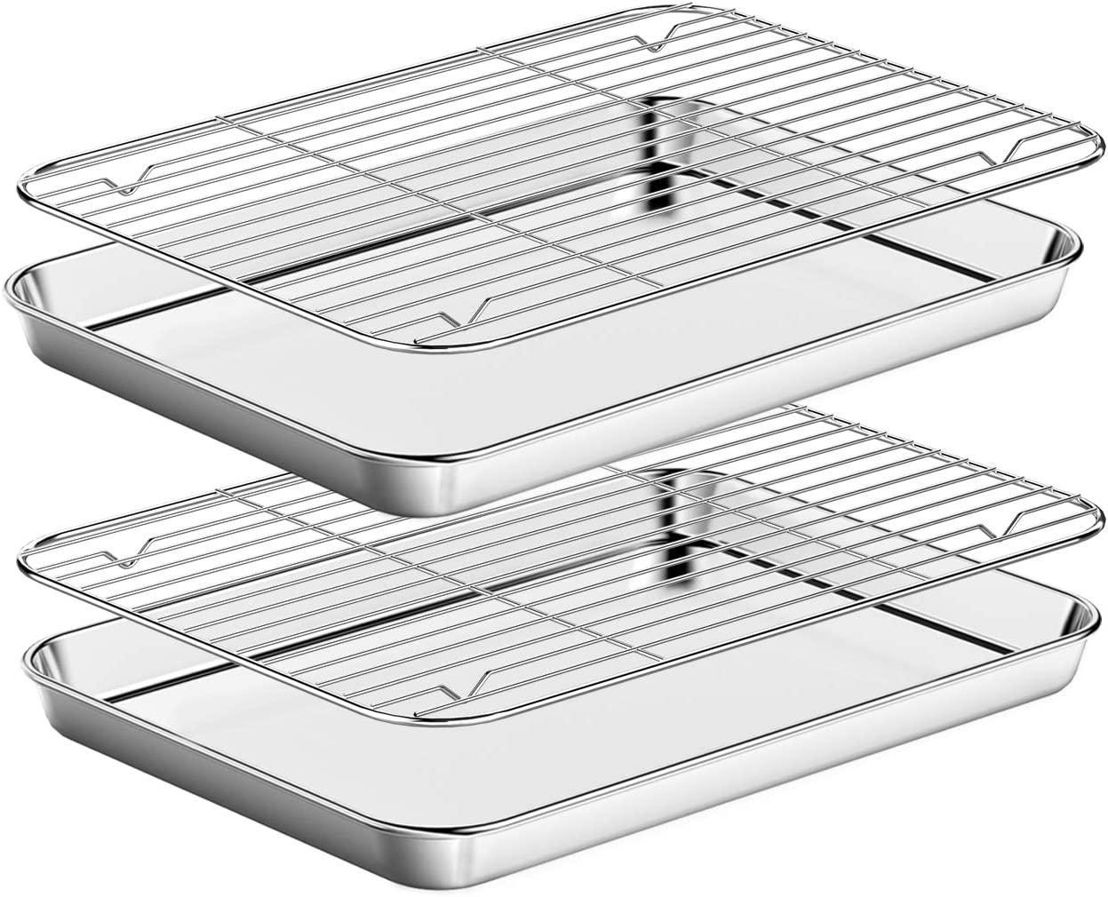 Baking Sheet with Rack Set [2 Pans + 2 Racks ] HKJ Chef Stainless Steel Cookie Sheet Baking Pan Tray with Cooling Rack, Size 12.5 x 10 x 1 Inch, Non Toxic & Heavy Duty & Easy Clean