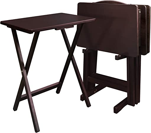 Casual Home 5 Piece Tray Table Set Espresso Furniture Decor