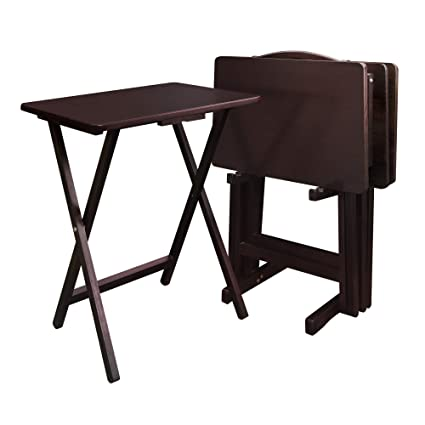 Casual Home 660 44 5 Piece Tray Table Set Espresso