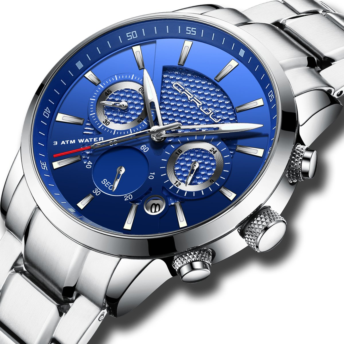 CRRJU Brand Mens Business Quartz Watch with Stainless Steel Band,Army Analog Unique Waterproof Calendar Wristwatch for Men