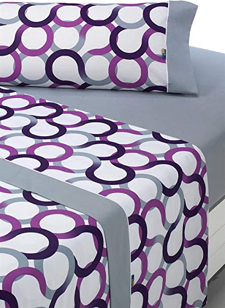 Oferta amazon: SABANALIA - Juego de sábanas Estampadas Aros (Disponible en Varios tamaños y Colores), Cama 150, Lila