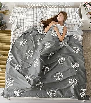 Saco de dormir sucio para viajar Ropa de cama portátil de doble sabana de algodón antisuciedad esencial para el hotel de viaje , 180cm*230cm , gray: ...