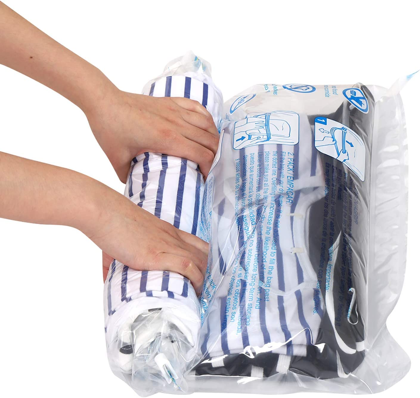 Amazon Com 12 Travel Compression Bags Hibag 12 Pack Roll Up Space Saver Storage Bags For Travel Suitcase Size 12 Travel Home Improvement