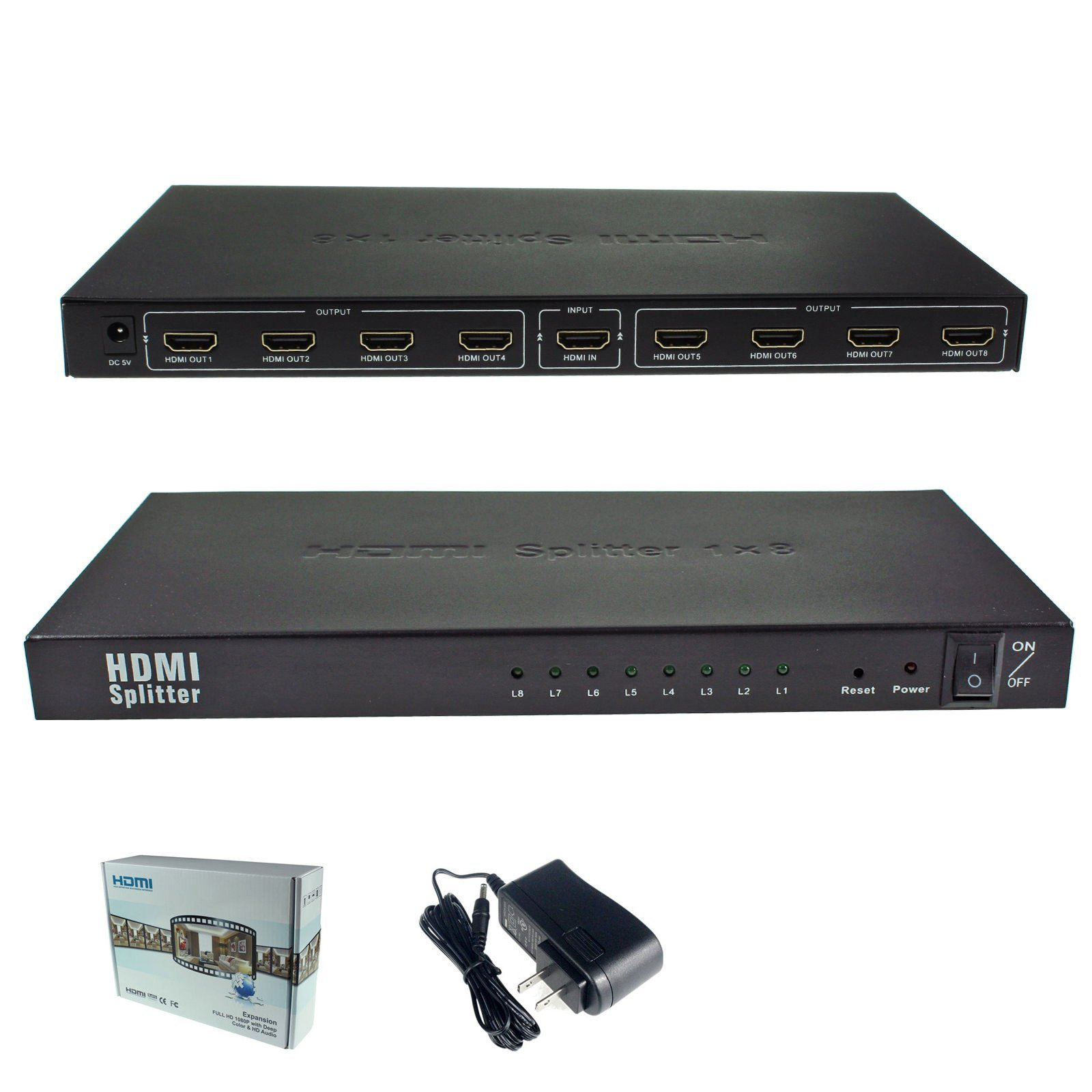 1x8 8 Ports HDMI Powered Splitter for Full HD 1080P & 3D Support (One Input to Eight Outputs)
