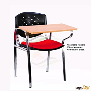 Finch Fox Stainless Steel Frame Writing Chair, PP Back and Seat, Red & Black