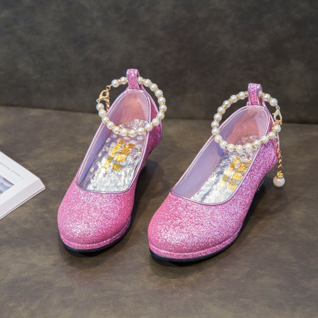 YIBLBOX Girls Kids Toddler Dress up Cosplay Princess Wedding Shoes Sequin Mary Jane Low Heel Shoes by YIBLBOX (Image #2)