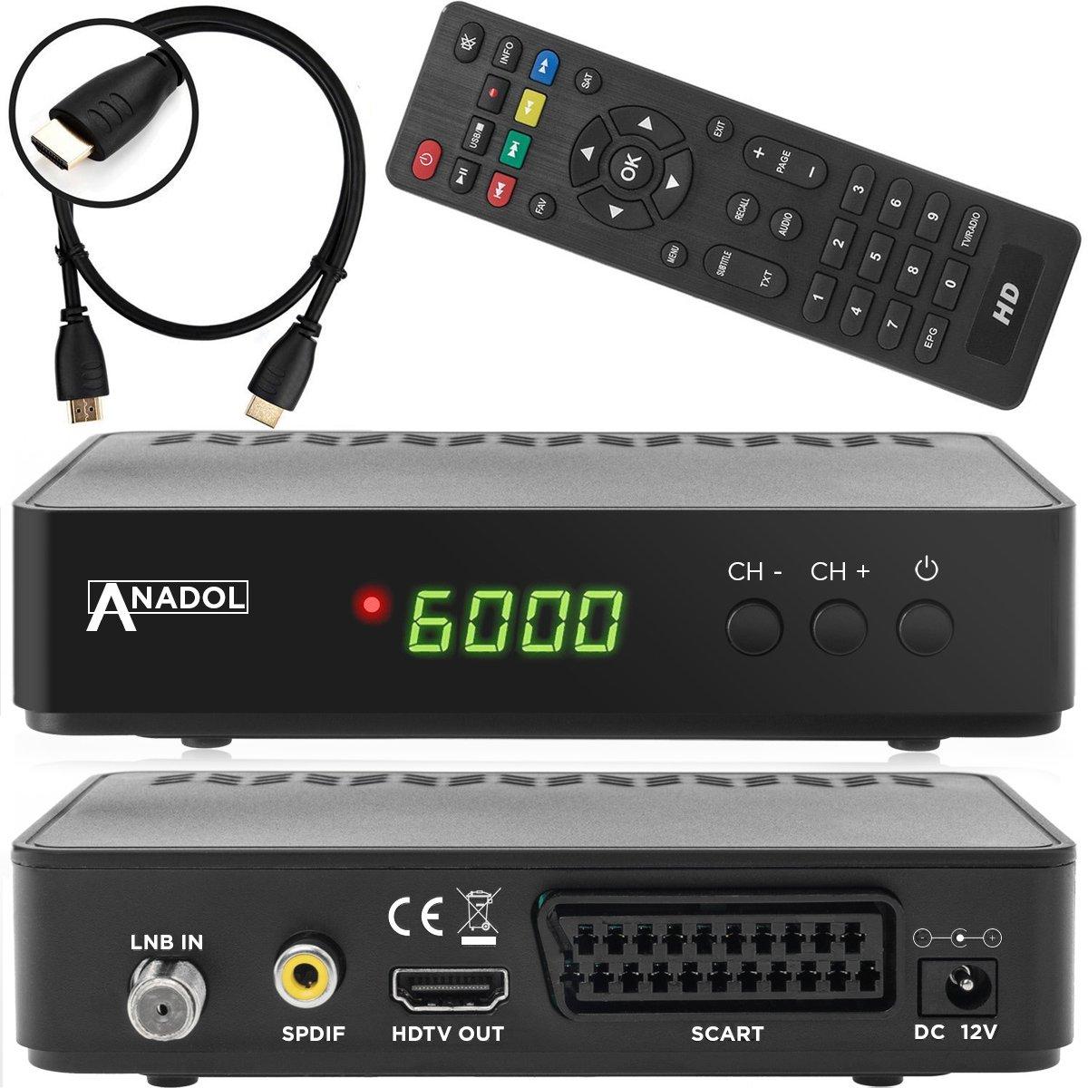 TALLA ohne WLAN. Anadol HD 200+Plus – Receptor satélite digital (HDTV, DVB-S2, HDMI, euroconector, 2 USB 2.0, Full HD 1080p, Youtube), programado, incluye cable HDMI, colornegro