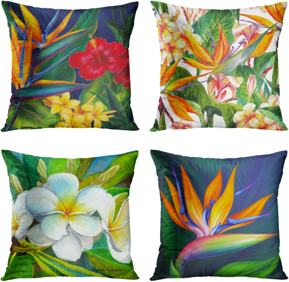 Britimes Throw Pillow Covers Home Decor Set of 4 Pillow Cases Decorative 18 x 18 Inches Outdoor Cushion Couch Sofa Pillowcases Tropical Flowers