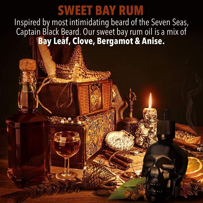 Aceite para Barba Black Skull | Bay Rum | Edición Limitada | 60ml | Natural y Orgánico